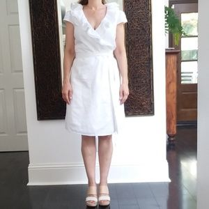 Calypso St Barth White Linen Cotton Wrap Dress S